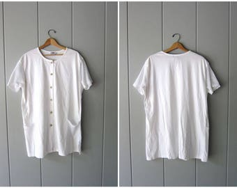 White Oversized Tshirt Button Up Beach Coverup Minimal Tee with Mesh Sleeves White Tunic Top Summer Tshirt Mini Dress Womens Large XL