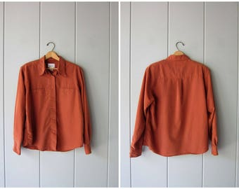 90s Silk Blouse Terra Cotta Orange Long Sleeve Shirt Vintage Minimal Button Up Tee Slouchy Loose Fit Modern Silk Top Brown Womens Large