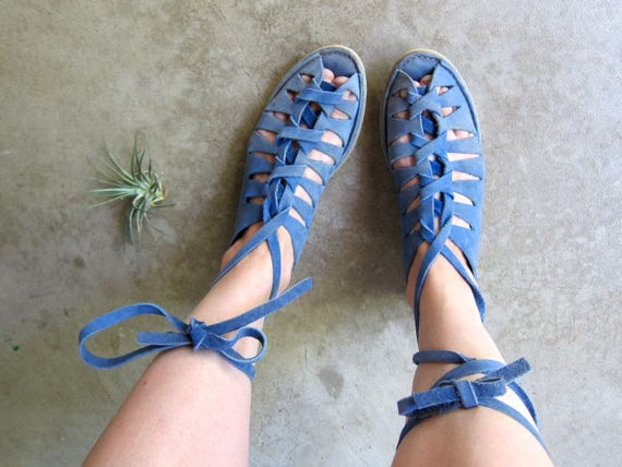 Vintage 70s Blue Suede Moccasins Gladiator Sandals Lace Up Leather Flats Summer Boho Sandals Cut Out Hippie Sandals DELLS Womens 8.5 - 9