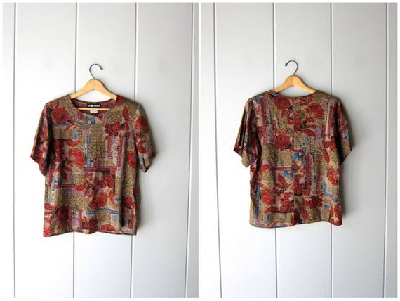 90s Rayon Boxy Top Abstract Print Blouse Short Sleeve TShirt Abstract Print Floral Tee Taupe Red Boho Hipster Vintage Top Womens Small