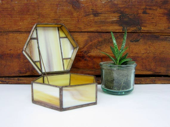 vintage Stained glass Box Hexagon Jewelry Box small Curio Trinket Case Catch All Home Decor GS