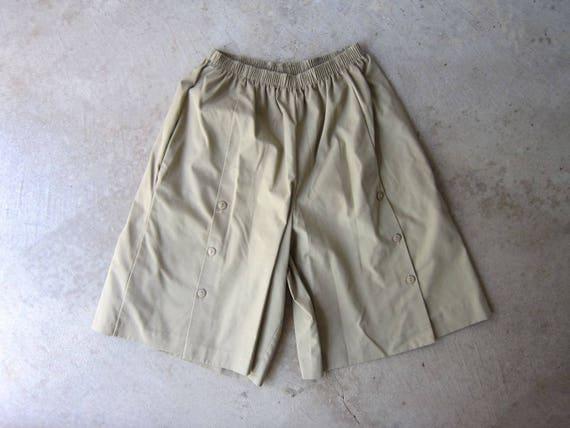 Vintage 80s Gaucho Shorts Minimal Palazzo Pants Capri Mom Culottes Skirt Elastic Waist Summer Shorts Modern Lounge Shorts Womens Medium