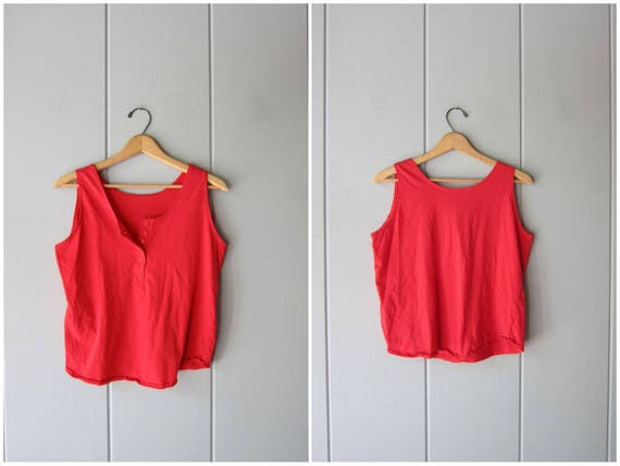80s Basic Red Tank Top Crop Top Cotton Scoop Neck with Buttons Vintage Tshirt Plain Red Muscle Tee Hipster Vintage Womens Medium