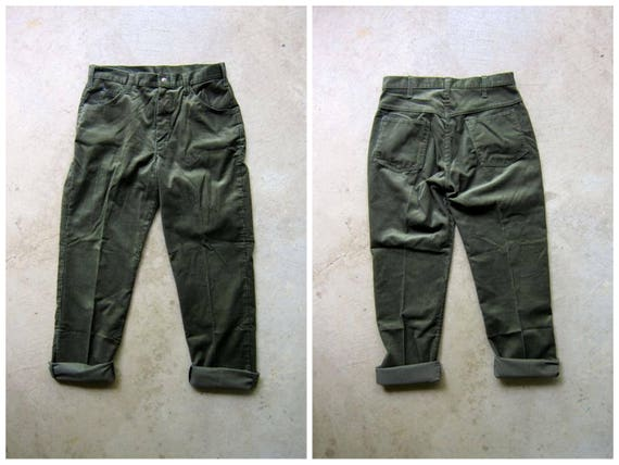 70s Corduroy Pants Army Green Mens Boyfriend Hipster Pants Grunge Casual Urban Street Style High Waist Jeans Straight Leg Waist 32""