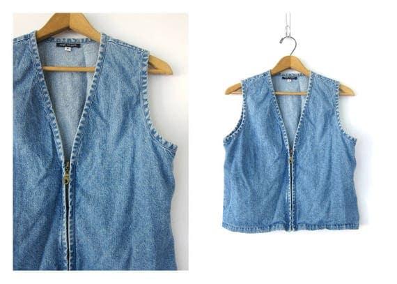 90s Denim Vest Hipster Sleeveless Jean Jacket Blue Crop Tank Top Boho Cropped Vest Grunge 1990s Zipper Jean Shirt Women's Size Small