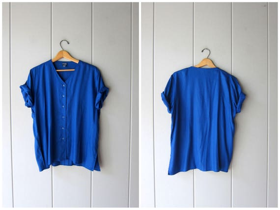 Basic Blue Top 90s Rayon Button Up Tee Oversized Shirt Slouchy Vneck 1990s Simple Gender Neutral Top Plain T Shirt Womens Large