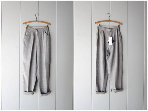 "Vintage Grey Silk Pants 90s Gray Silk Pants High Waist Pressed Slacks Minimal Trousers Modern Silk Lounge Pants Womens 8 Waist 27"" - 29"""