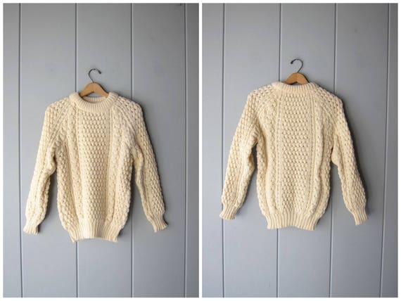 Vintage Natural Wool Sweater Chunky Fishermans Sweater Hand Loomed Irish Knit Pullover Cream White Wool Fishermen Sweater Womens Small