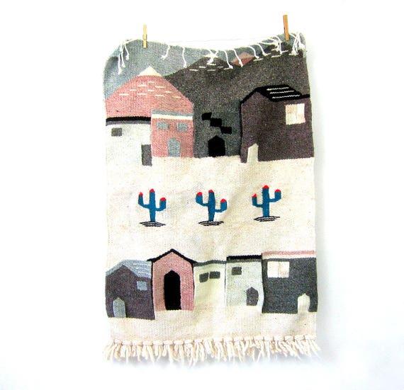 Vintage Southwestern Handwoven Wall Hanging Pastel Blue White Pink Textile Art Tapestry Pueblo Tapiz Houses Southwest Ranch Home Decor