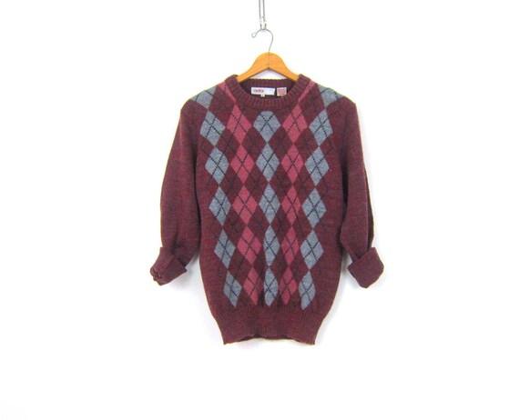 Purple Berry Sweater Argyle Knit Pink & Gray Preppy Sweater Casual Prep School Shirt Size Medium Large
