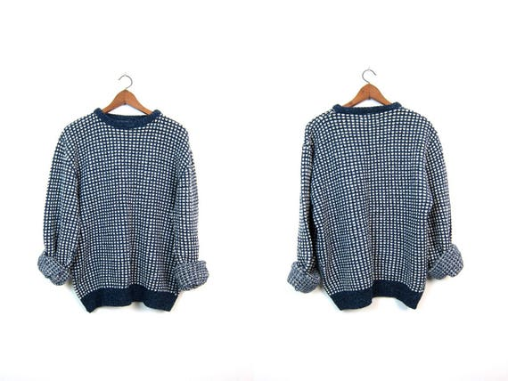 Vintage Wool Sweater Oversized THICK Wool Knit Sweater Boho Chunky Knit Pullover Sweater Blue White Checkered Cozy Sweater Mens Large