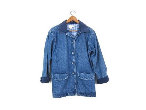 Vintage 90s Barn Jacket Medium Wash Denim Jean Jacket Chore Coat Preppy Utility Pocket Coat Spring Button Up Jean Jacket Womens Size Medium