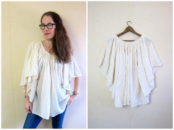 1970s Cotton Gauze Blouse with Butterfly Sleeves 70s Natural White Cotton Top Boho Hippie MN Vintage Flutter Angel Sleeves Womens XS S M L