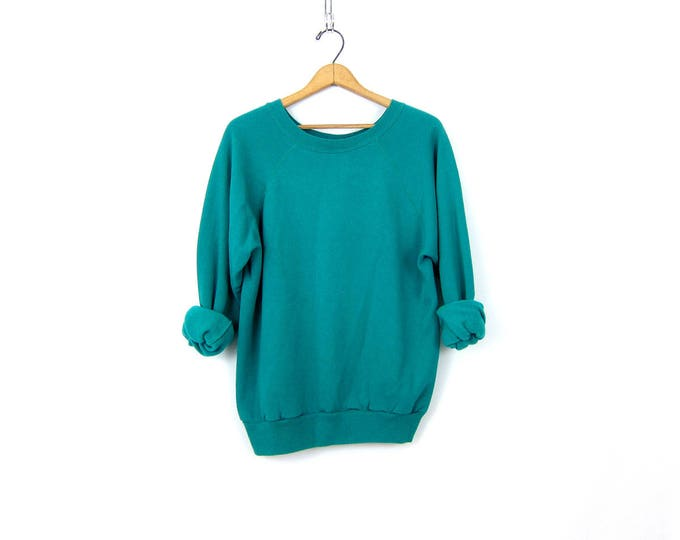 Turquoise Green Raglan sweatshirt 1980s slouchy sweater Basic Casual Sweater Plain shirt ATHLETICS Sports Sporty Top Women's Medium Large