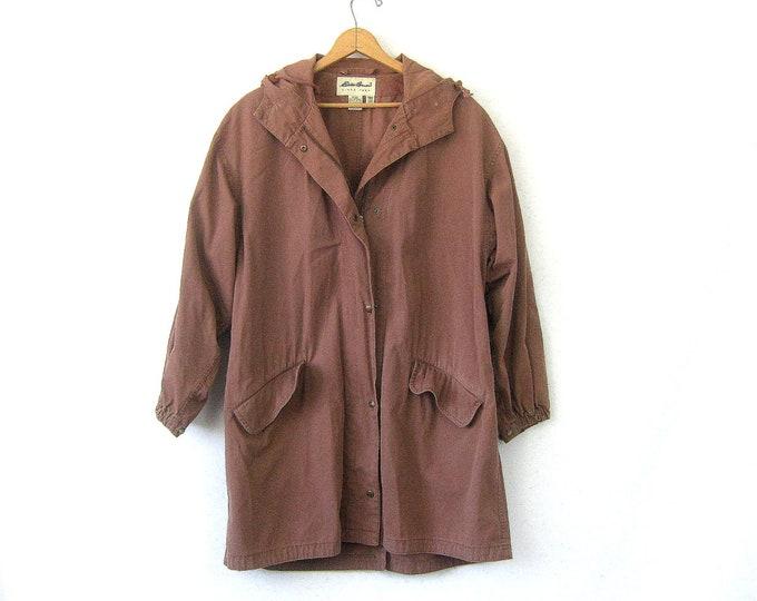 Cocoa Brown Cotton Jacket Oversized Hoodie Trench Coat Basic Zip Up Hooded Coat Simple Slouchy Grunge Drawstring Jacket Women's Size Medium