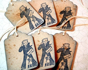 Gift Tags Set of 100, Cracker Jack,  Wedding Favor Tag, Vintage Wedding, Favor Tag, Engagement Party Tag, Party Tag, Kraft Tag, Baby Shower