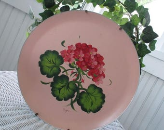 Vintage Wall Hanging * Tole Tray * Hand Painted Hydrangea * Geraniums * Shabby Chic * Cottage