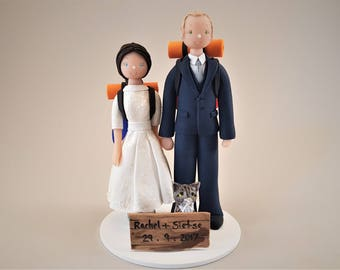 Bride & Groom with a Cat Customized Hiking Theme Wedding Cake Topper