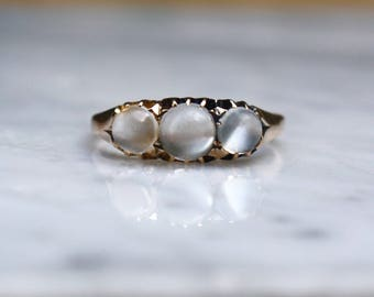 VICTORIAN MOONSTONE ROSEGOLD 15k rosegold 3 stone trilogy trinity vintage ring circa 1880s size 9.5