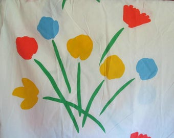 vintage marimekko full size fitted sheet bright and simple floral tulips