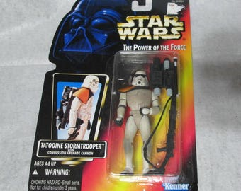 Vintage 1996 Kenner Star Wars The Power of the Force Tattooine Stormtrooper Orange Card