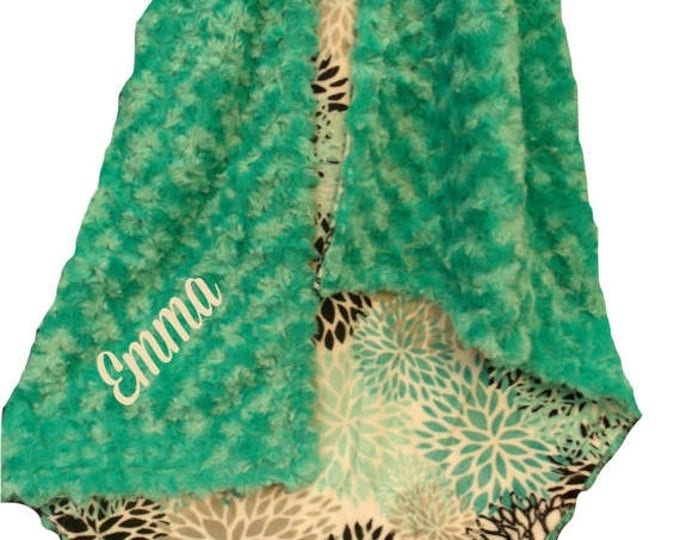 SALE Personalized Breeze Teal and Gray Rosebud Swirl Floral Pattern Minky Baby Blanket,