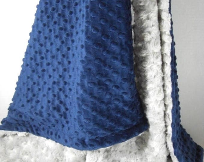 SALE Navy Blue Minky Dot and Silver Gray Rose Swirl Minky Blanket Can Be Personalized