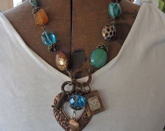 Beaded Copper Heart Charm Necklace - Turquoise Green And Tan - REDuCED