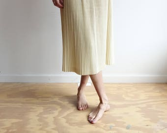 Vintage 70s Ivory Pleated Skirt/ High Waisted Off White Accordion Pleat Skirt/ Minimalist/ Size 26