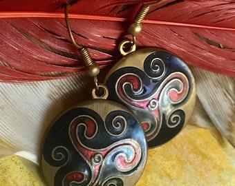 Celtic Sea Gems Enamel Pierced Earrings