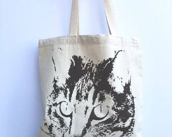 CAT - Eco-Friendly Market Tote Bag - Hand Screen printed (Ships FREE!) Zen Threads