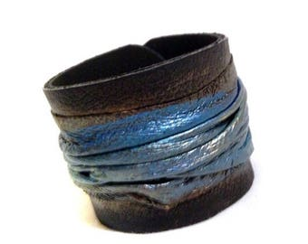 40% OFF SALE Elegant women's leather bracelet in metallic turquoise  Cuff bracelet Leather jewelry Wide fashion wristband