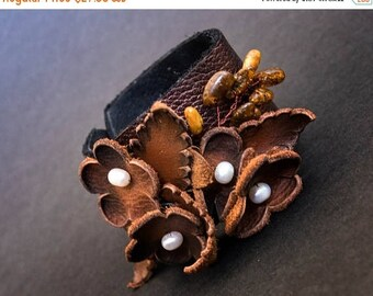 40% OFF SALE 40 Percent OFF Sale Elegant rustic Leather flower bracelet with pearls Floral wristband Leather jewelry