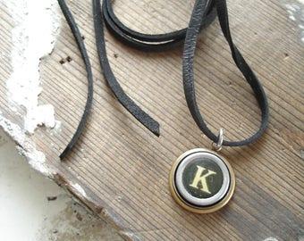 Typewriter Key Necklace. Letter K Necklace. Vintage Typewriter Key Necklace. Personalized Initial. Adjustable Leather Necklace. Unisex Gift.