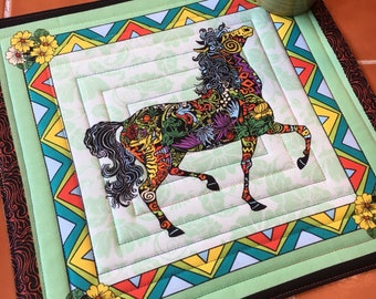 Horse Mug Rug Collier-Morales Studio / Candle Mat / Coaster / Fabric / quilted / whimsical gift for her / panel / carousel / collage