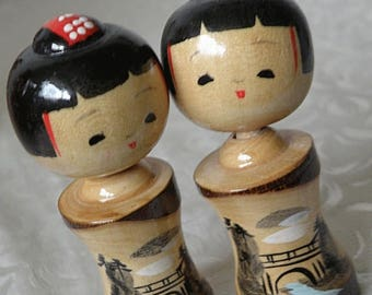 christmasinjuly 2 Women  Kokeshi Dolls