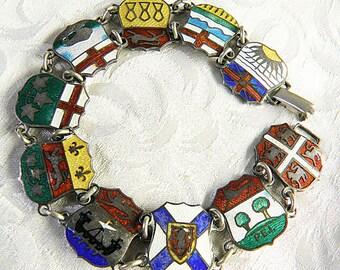 10 CANADIAN PROVINCES Bracelet  Sterling Guilloche