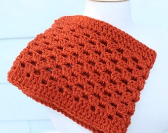 Orange crochet scarf, orange crochet cowl, orange cowl scarf, orange neckwarmer, pumpkin scarf, shell stitch cowl, pumpkin cowl