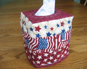Quilted Tissue Cover in Patriotic Fabric with Flags and Stars