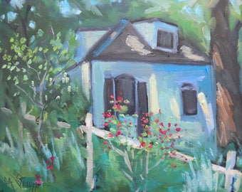 "Landscape Oil Painting, Woodland Cottage, 6x8"" Original Art on Canvas Covered Panel"