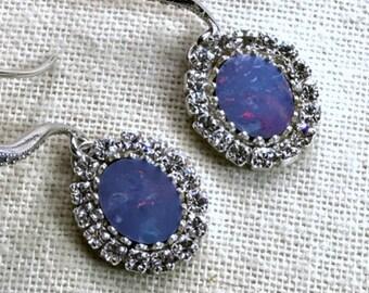 Opal Earrings, Opal Dangle Earring Australian Black Opal Earring Lightning Ridge Opal October Birthstone Diamond Look Handmade Blue Opal