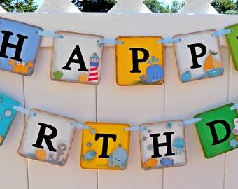 Happy Birthday Sign-Nautical Birthday Banner-Birthday Banner-Smash Cake Photo-Birthday Decorations-Party Decorations-1st Birthday Banner