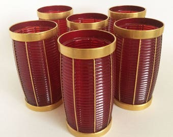 6 Trader Vic's Port Light Tiki Mugs Glasses by Imperial Glass, Ruby Red Gold Barware