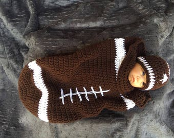 Crochet Football Cocoon and Hat/Football Cocoon/Football Hat/Baby Cocoon/Crochet/Handmade in USA/Baby Football Cocoon/Baby Football Hat