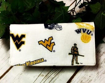WVU Checkbook Cover/handmade/checkbook/ready to ship/Quilted Checkbook/WVU Mountaineers/Fabric Checkbook/check book cover/Checkbook Cover