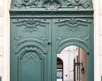 Paris Photography, Green Door in Paris, Paris Photo, Print Hunter Green Doorway, paris print, Door in Paris, green wall art, paris print