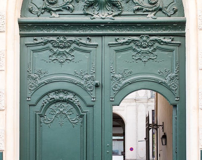 Paris Photography, Green Door in Paris, Paris Photo, Print Hunter Green Doorway, paris print, Door in Paris, green wall art, paris print