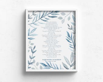 wedding vow keepsake, 1st anniversary gift, wedding song artwork, wedding vow art, gift for wife, meaningful gift, above bed art