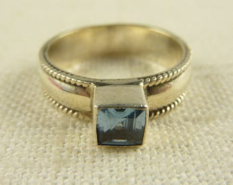 Size 8.25 Vintage Sterling Blue Topaz Ring