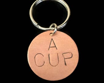 Boobs, A Cup Keychain, Boobies - INVENTORY PURGE - 40% Off - Stamped Keychain, Brass Key Ring, Circle, Womens Keychain, Breasts, Metal Taboo